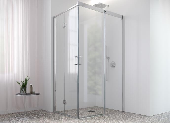 Mampara para baño hojas plegables diseño a medida Profiltek ES215