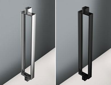 Turin handle as standard, glossy chrome/black VITA Profiltek