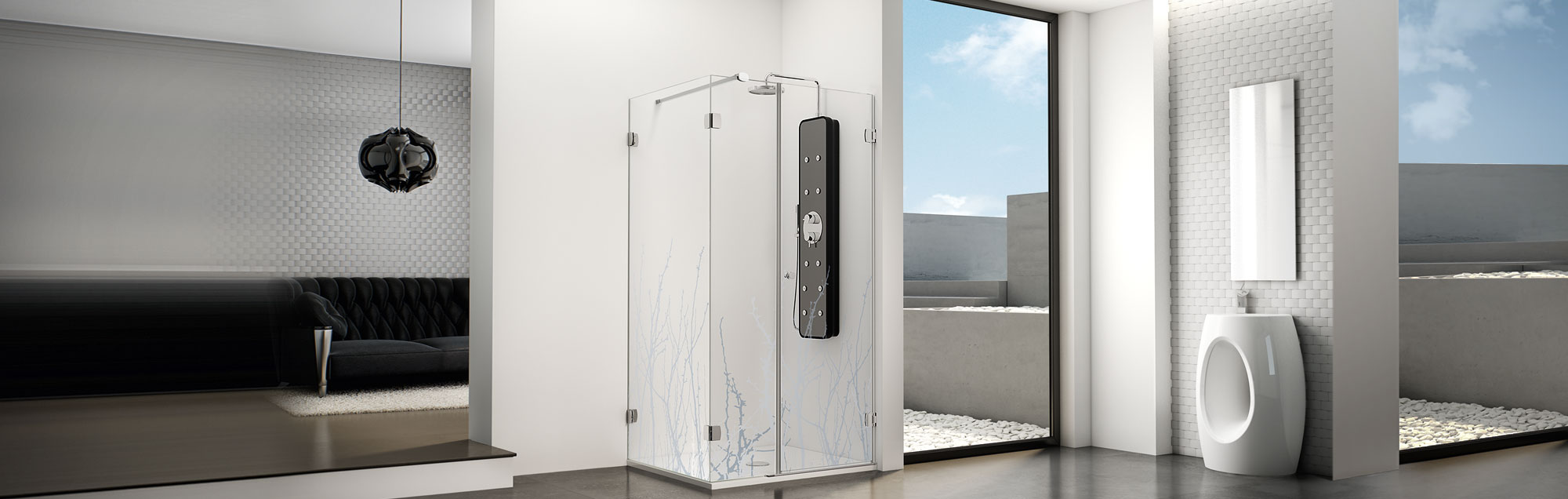 PROFILTEK swinging made to measure bathroom enclosures