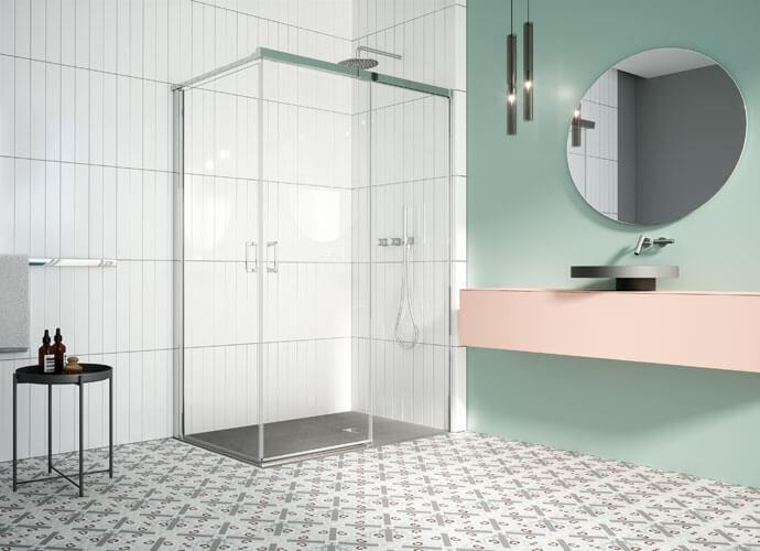 Mampara para baño corredera con abatible cromo brillo diseño a medida Profiltek ES210
