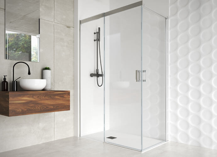 Mampara ducha corredera con fijo diseño a medida Profiltek ES216