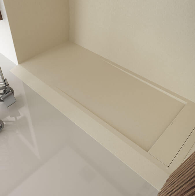 Matis extra flat shower trays include a drain exclusively designed by PROFILTEK