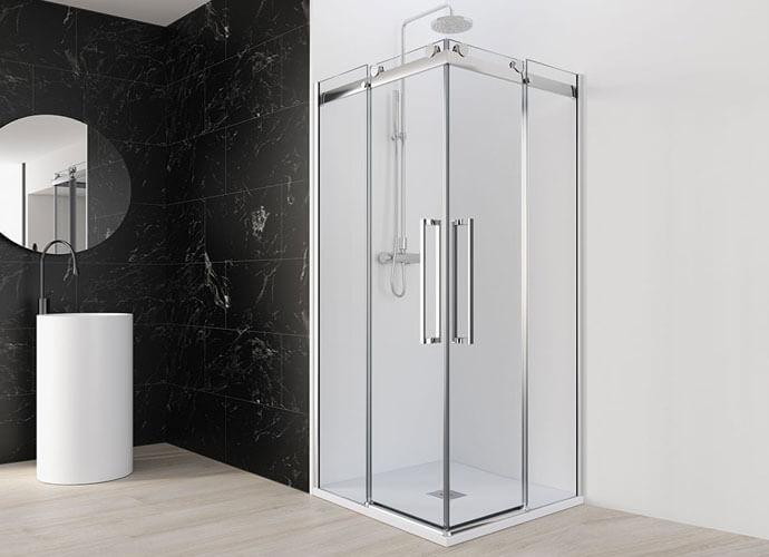 Mampara especial baño pequeño a medida Profiltek Mo220