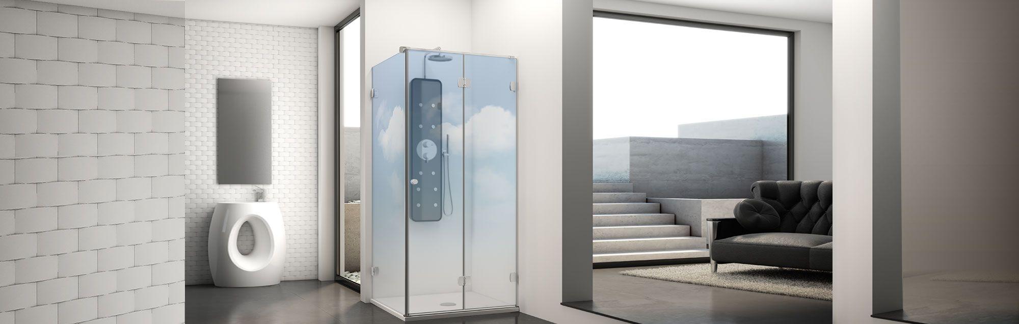 Newglass Collection swinging bathroom enclosures