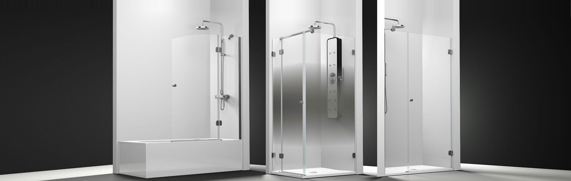 Série Newglass parois de bain battantes sur mesure