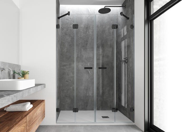 Mampara de ducha plegable Profiltek acabado negro ng226