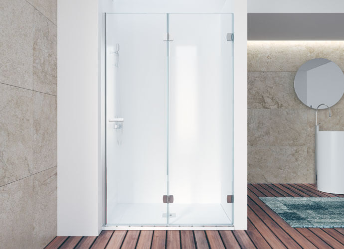 Mampara de ducha plegable Profiltek cromo brillo ng218