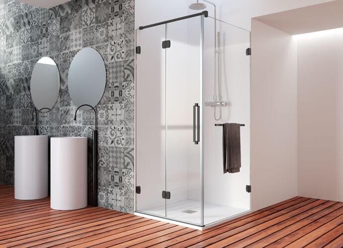 Mampara de ducha plegable Profiltek acabado negro ng219