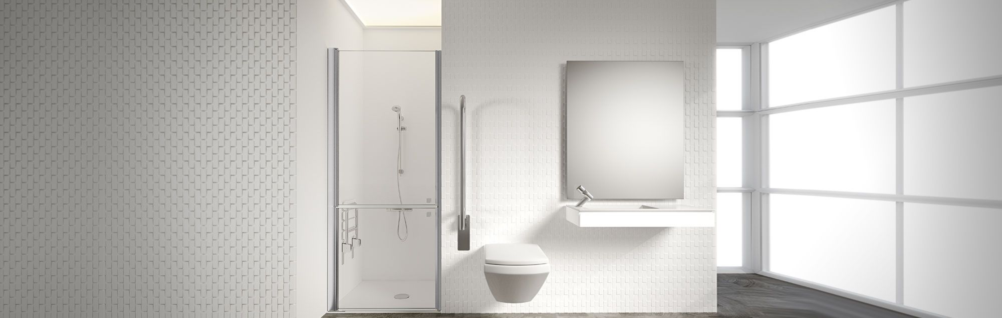PROFILTEK PMR reduced mobility persons' Collection made to measure bathroom enclosures