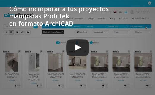 incorporar mamparas profiltek formato archicad