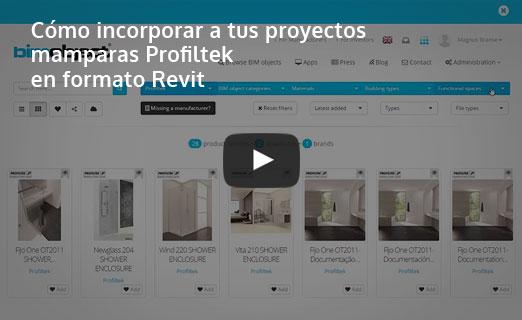 incorporar mamparas Profiltek formato revit