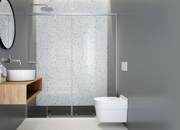 Mampara de ducha corredera Profiltek serie Salma frontal