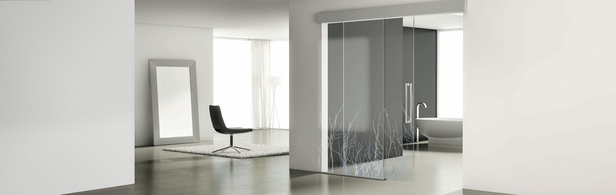 Série Luxor portes coulissantes en verre PROFILTEK sur mesure