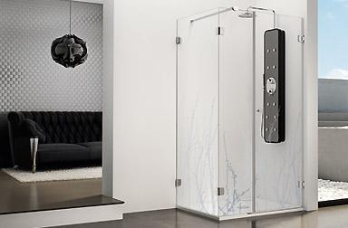 Serie Newglass di box doccia battenti PROFILTEK
