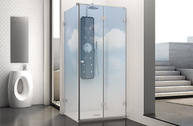 Serie Newglass di box doccia pieghevoli PROFILTEK