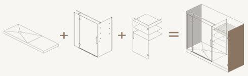Kit para substituir banheira por uma divisória + base de duche + espaço de armazenamento.