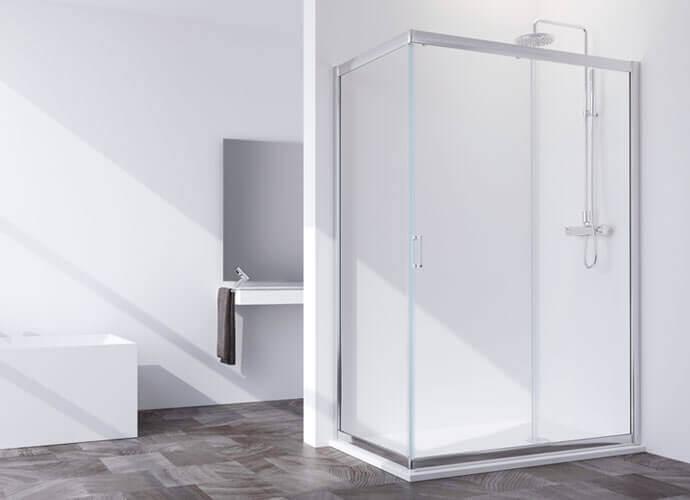 Mampara de ducha corredera doble y fijo Profiltek serie Spring