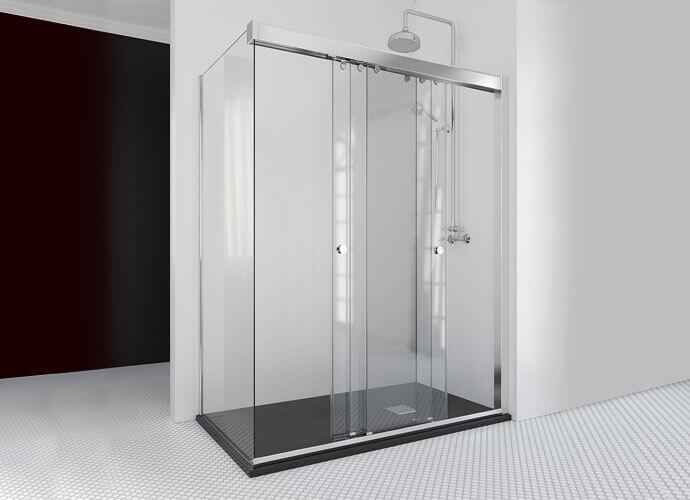 Mampara ducha puertas correderas con fijo lateral a medida Profiltek Ta216