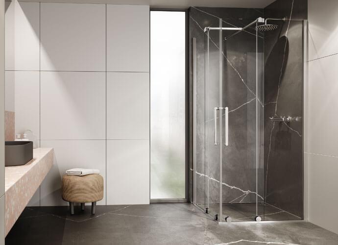 Mampara ducha a medida puertas correderas angular VY220