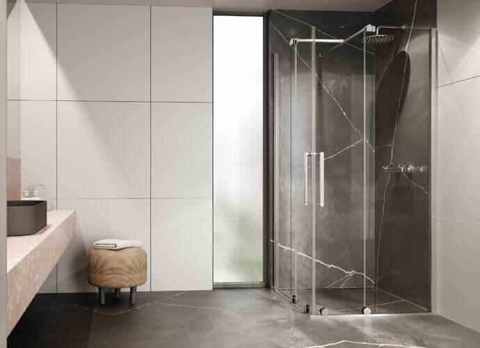 Angular 2-leaf sliding shower enclosure vanity Profiltek