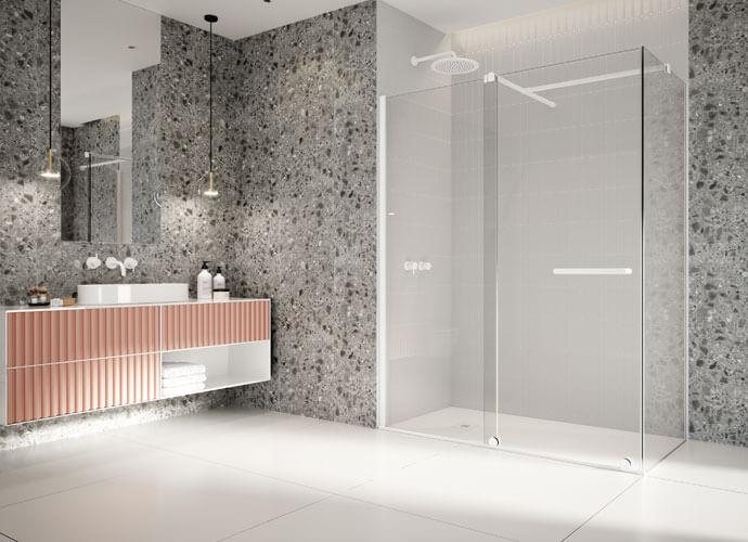 Mampara ducha a medida puertas correderas acabado perfil plata alto brillo VY216