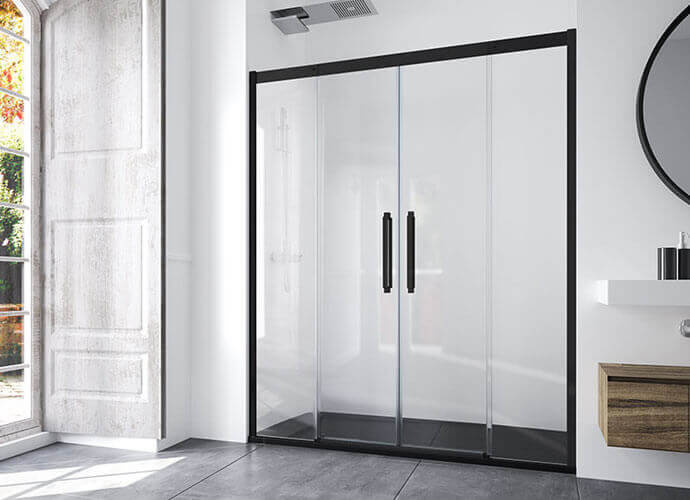 Sliding shower enclousure with black profile Profiltek