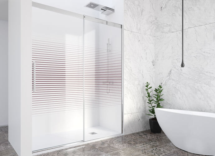Mampara ducha corredera a medida decorado Imagik Profiltek Va210