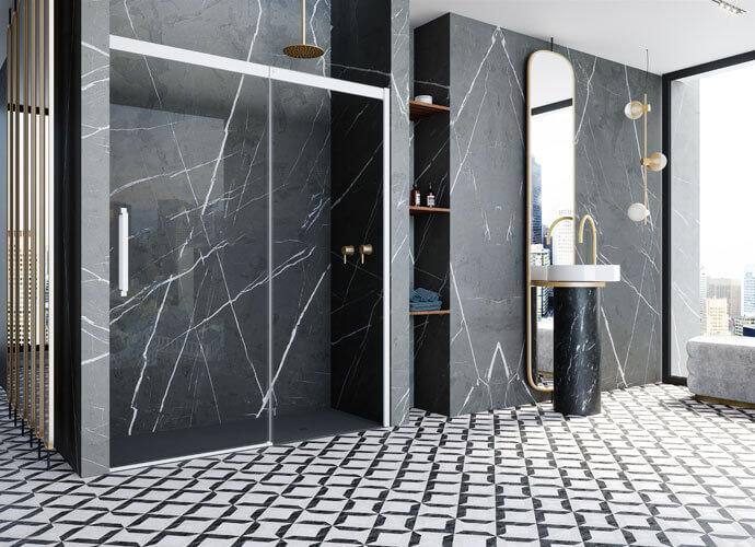 Sliding shower enclousure matt white Profiltek