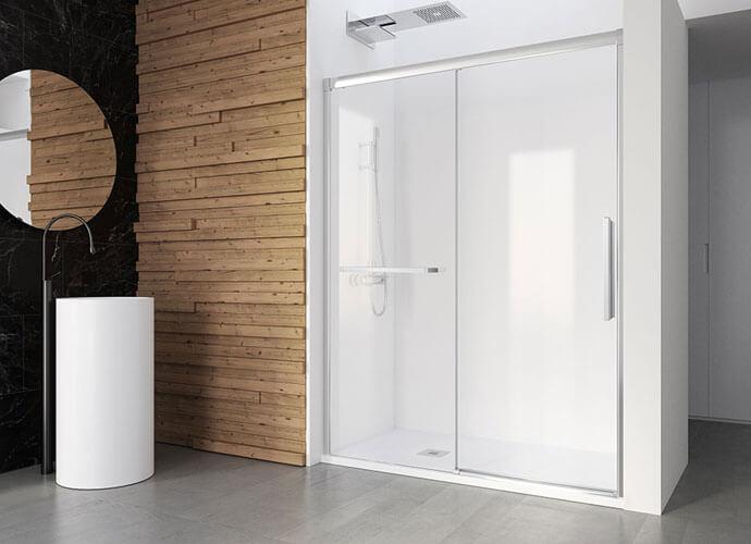 Mampara ducha para baños a medida perfil acabado en plata alto brillo Profiltek Wi210