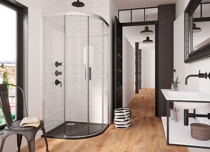Mampara ducha para baños a medida de hojas correderas sin guia inferior Wi260