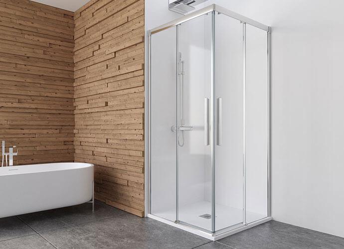 Mampara ducha para baños a medida corredera mas dos fijas Wi220