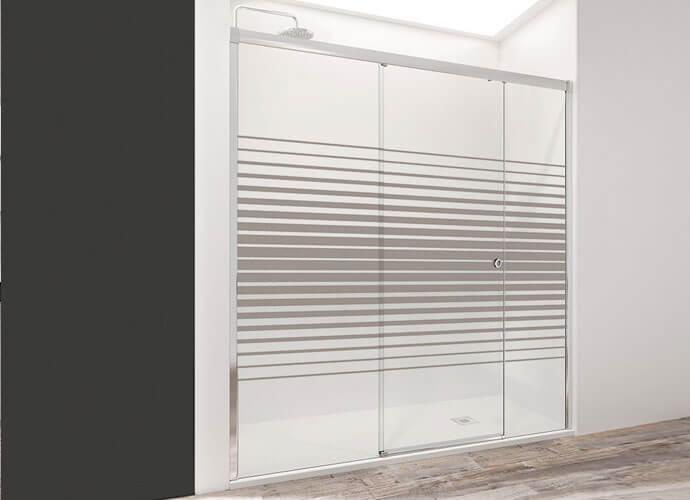 Mampara ducha para baños a medida con decorado imagik Profiltek Wi230