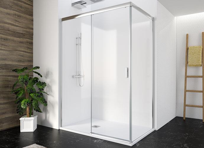Mampara ducha para baños a medida perfil acabado en plata alto brillo Profiltek Wi216